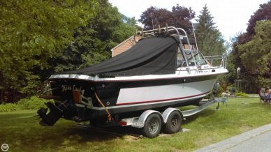 Back Veiw Of Boat On Trailer With Topset Up